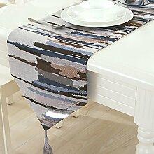Ethomes Moderne blaues muster tischläufer dekoration mit quasten 30cm x 160cm
