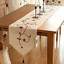 Ethomes Moderne Leinen- beige muster tischläufer dekoration mit quasten 40cm x 220cm