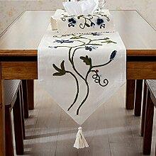 Ethomes Moderne Leinen- bestickt blumenmuster tischläufer dekoration mit quasten 40cm x 220cm