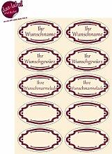Etiketten für Gewürze, Marmeladen, Haushaltsetiketten, Gewürzetiketten (natur/dunkelrot, 100)