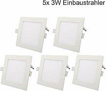 ETiME 5x 3W LED Einbaustrahler Panel