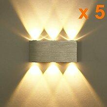 ETiME 5x 6W LED Wandleuchte Innen Wandlampe Modern