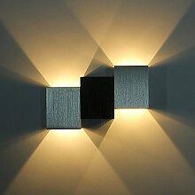 ETiME LED Wandleuchte 6W up down Effektlampe innen Wandlampe Design Flurlampe Aluminum (Viereck 6W Warmweiss)
