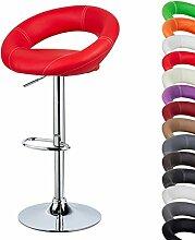 EUGAD 1 x Barhocker Design Mond Bar Hocker , 1 Stück Barstuhl , stufenlose Höhenverstellung , verchromter Stahl , pflegeleichter Kunstleder , gut gepolsterte Sitzfläche , Antirutschgummi , Rot 9193-1