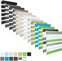 EUGAD #324 Doppelrollo Duo Rollo Klemmfix ohne Bohren , Variorollo Fensterrollo , lichtdurchlässig und verdunkelnd , Holzlook Natur , 45cmx150cm
