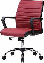 EUGAD Bürostuhl Chefsessel höhenverstellbarer Bürodrehstuhl aus Kunstleder, Arbeitstuhl mit Wippfunktion, Bordeaux BS01bd-1