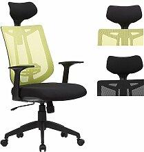 EUGAD Bürostuhl mit Kopfstütze, ergonomischer Bürodrehstuhl aus atmungsaktivem Netzbezug, Höheverstellbarer Schreibtischstuhl mit Armlehne und Wippfunktion , Grün