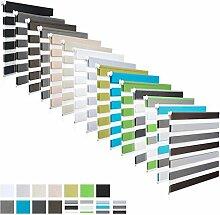 EUGAD Doppelrollo Klemmfix ohne Bohren Duo Rollo Seitenzugrollo Fensterrollo easyfix lichtdurchlässig und verdunkelnd Weiss+Grau+Braun 80x220 cm , DR5618m13
