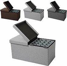 EUGAD faltbarer Sitzbank Sitzhocker Stabiler Sitzwürfel mit 80L Stauraum, Aufbewahrungsbox inkl. Aufbewahrungskasten, Dick gepolsterter Hocker, Belastbar bis 300KG, SH14hgr-1 Hellgrau