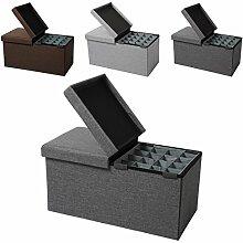 EUGAD faltbarer Sitzbank Sitzhocker Stabiler Sitzwürfel mit 80L Stauraum, Aufbewahrungsbox inkl. Aufbewahrungskasten, Dick gepolsterter Hocker, Belastbar bis 300KG, SH14dgr-1 Dunkelgrau