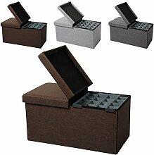 EUGAD faltbarer Sitzbank Sitzhocker Stabiler Sitzwürfel mit 80L Stauraum, Aufbewahrungsbox inkl. Aufbewahrungskasten, Dick gepolsterter Hocker, Belastbar bis 300KG, SH14br-1 Braun