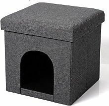 Eugad faltbarer Sitzhocker Sitzbank Hundehöhle / Katzenhöhle Stauraum bis 38L, stabiler Sitzwürfel aus hochwertigem Leinen und MDF Platte(Klasse E1), bis 300KG belastbar Dick gepolsterte, SH13dgr-1 Dunkelgrau