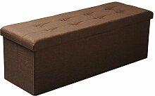 EUGAD Faltbarer Sitzhocker Sitzbank mit 118L Stauraum Dick gepolsterter Aufbewahrungsbox 110x37.5x38cm, aus Leinen und MDF(E1), Polsterhocker bis 300KG belastbar, SH11br-1 Braun