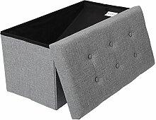 EUGAD Faltbarer Sitzhocker Sitzbank mit 80L Stauraum Dick gepolsterter Aufbewahrungsbox 76x37.5x38cm, aus Leinen und MDF(E1), Polsterhocker bis 300KG belastbar, SH10hgr-1 Hellgrau
