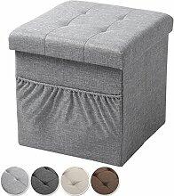 EUGAD faltbarer Sitzwürfel Sitzhocker Fußhocker mit 38L Stauraum und Seitentaschen, Dick gepolsterte, stabile Sitzcube aus Leinen und MDF Platte(E1) bis 300KG belastbar, SH12hgr-1 Hellgrau
