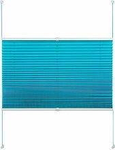 EUGAD PS5617ts13 , Plissee Jalousie Klemmfix ohne Bohren , für Fenster und Tür , Faltrollo verspannt , Verdunklungsplissee easyfix , 105x130 cm , Türkis