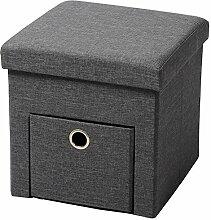 EUGAD Sitzhocker faltbarer Sitzwürfel Fußhocker mit schubladen Stauraum bis 38L, Aufbewahrungsbox mit abnehmbarem Deckel , aus atmungsaktivem Leinen und MDF(E1), Dunkelgrau SH07dgr-1