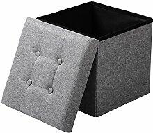 EUGAD Sitzhocker Faltbarer Sitzwürfel Fußhocker mit Stauraum, Aufbewahrungsbox mit abnehmbarem Deckel , aus Leinen und MDF Holz(Klasse E1), dick gepolsterte Sitzfläche, SH06hgr Hellgrau