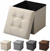EUGAD Sitzhocker Faltbarer Sitzwürfel Fußhocker mit Stauraum, Aufbewahrungsbox mit abnehmbarem Deckel , aus Leinen und MDF Holz(Klasse E1), dick gepolsterte Sitzfläche, SH06cm Cremeweiß