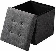 EUGAD Sitzhocker Faltbarer Sitzwürfel Fußhocker mit Stauraum, Aufbewahrungsbox mit abnehmbarem Deckel, aus Leinen und MDF Holz(Klasse E1), dick gepolsterte Sitzfläche, SH06dgr Dunkelgrau