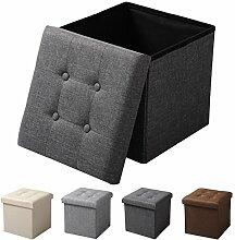 EUGAD Sitzhocker Faltbarer Sitzwürfel Fußhocker mit Stauraum, Aufbewahrungsbox mit abnehmbarem Deckel , aus Leinen und MDF Holz(Klasse E1), dick gepolsterte Sitzfläche, SH06dgr Dunkelgrau