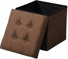EUGAD Sitzhocker Faltbarer Sitzwürfel Fußhocker mit Stauraum, Aufbewahrungsbox mit abnehmbarem Deckel , aus Leinen und MDF Holz(Klasse E1), dick gepolsterte Sitzfläche, SH06br Braun