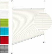 EUGAD VH5533cm Plissee Jalousie Klemmfix ohne Bohren , für Fenster und Tür , Faltrollo Fensterrollo Verdunklungsplissee , easyfix verspannt , 65x130 cm , Natur