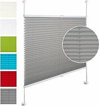 EUGAD VH5535gr Plissee Jalousie Klemmfix ohne Bohren , für Fenster und Tür , Faltrollo Fensterrollo Verdunklungsplissee , easyfix verspannt , 75x130 cm , Grau