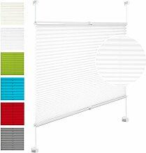 EUGAD VH5535ws Plissee Jalousie Klemmfix ohne Bohren , für Fenster und Tür , Faltrollo Fensterrollo Verdunklungsplissee , easyfix verspannt , 75x130 cm , Weiss