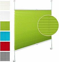 EUGAD VH5540gn Plissee Jalousie Klemmfix ohne Bohren , für Fenster und Tür , Faltrollo Fensterrollo Verdunklungsplissee , easyfix verspannt , 100x130 cm , Grün