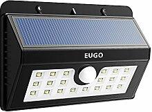 EUGO LED Solarleuchten - Solar Wandleuchte Solar Außenleuchte Wireless Wetterfeste Licht Bewegungs Sensor Lampe mit 20 LED für Garten, im Freien,Zaun, Garten Deko, Garage, Treppe usw.