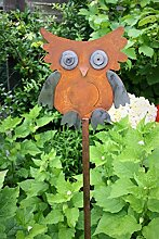 Eule auf Stab 118cm Edelrost Optik Figur Beetstecker Dekoration Metall Garten