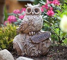 Eule auf Stein Gartendeko Deko Garten Vogel Tier