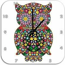 Eule aus Blumen Ornamenten, Wanduhr Quadratisch Durchmesser 48cm mit schwarzen spitzen Zeigern und Ziffernblatt, Dekoartikel, Designuhr, Aluverbund sehr schön für Wohnzimmer, Kinderzimmer, Arbeitszimmer