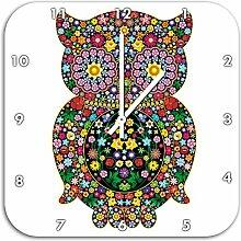 Eule aus Blumen Ornamenten, Wanduhr Quadratisch