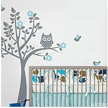 Eule, Baum, Vogel, Blumen Zeichnung Wandaufkleber,