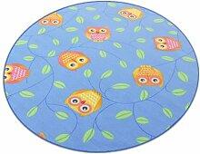 Eule blau HEVO® Teppich | Spielteppich | Kinderteppich 200 cm Ø Rund
