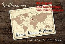 Eule-Design Fußmatte Weltkarte mit Wunschnamen