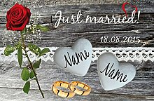 Eule-Design Just Married Rose Fußmatte Geschenk