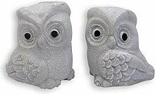 Eule Eulenpaar Gartendeko Figur massiv Sandstein Dekoration 20 cm 5 kg ***Absoluter Blickfang***