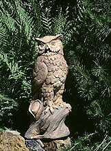 Eule Garten Statue (handbemalt) aus Betonwerkstein Gartenfigur Steinfiguren Garten-Statue Dekofigur