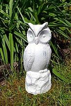 Eule Keramik weiß grau Skulptur Gartenskulptur Gartenfigur antik Optik ca. 23cm Höhe