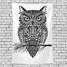 Eule Leinwand Benutzerdefinierte Farbe Home Dekoration Wand Teppich Vertikale Version Tapisserie, Polyester-Mischgewebe, Vertical Version, 80x60(in)