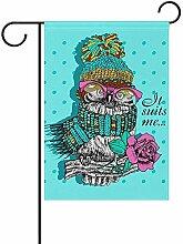 Eule mit Brille Hut doppelseitige Polyester Garten