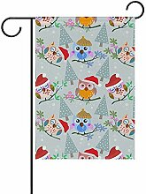 Eule mit Weihnachtsmütze doppelseitige Polyester