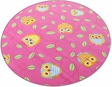 Eule pink HEVO® Teppich | Spielteppich | Kinderteppich 200 cm Ø Rund