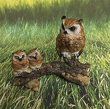 Eule Trio Familie auf Ast klein Dekofigur Figur Gartendeko