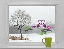 Eule & Vögel auf Ast - Fenstersticker Fensterbild