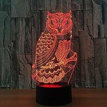 Eule Vogel 3D Illusion Lampe 3D LED Nachtlicht mit