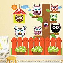 Eule Wandaufkleber Set Gartenbaum Wandtattoo Kinderzimmer Kinderzimmer Wohnkultur Erhältlich in 8 Größen XX-Groß Digital